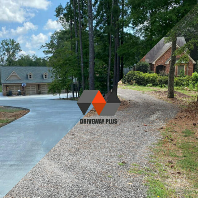 New driveway on a big area of a house in Acworth, GA