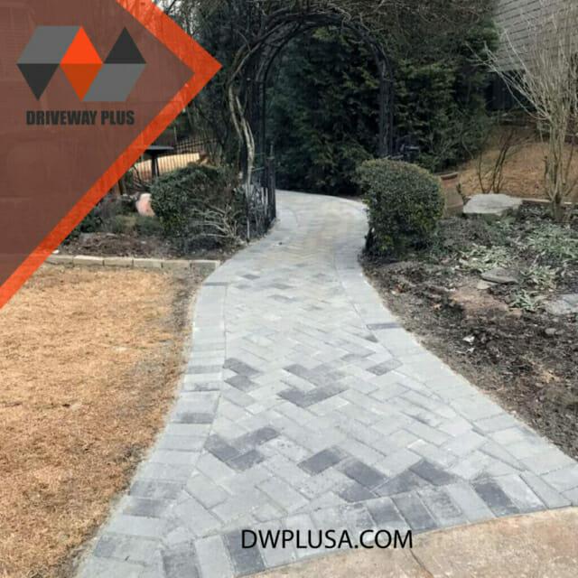 Walkway with gray pavers on the garden in Atlanta GA