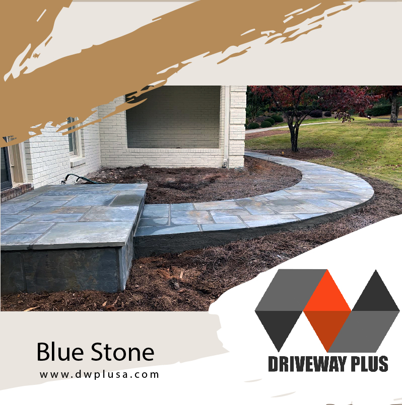 Walkway and front porch in blue stones