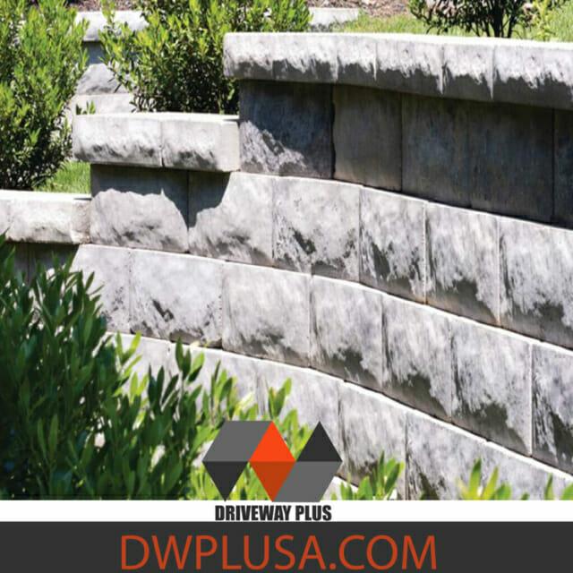 Retaining Wall with gray blocks