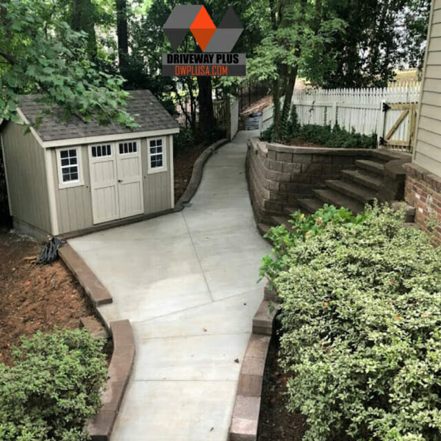 Retaining wall with steps and a walkway