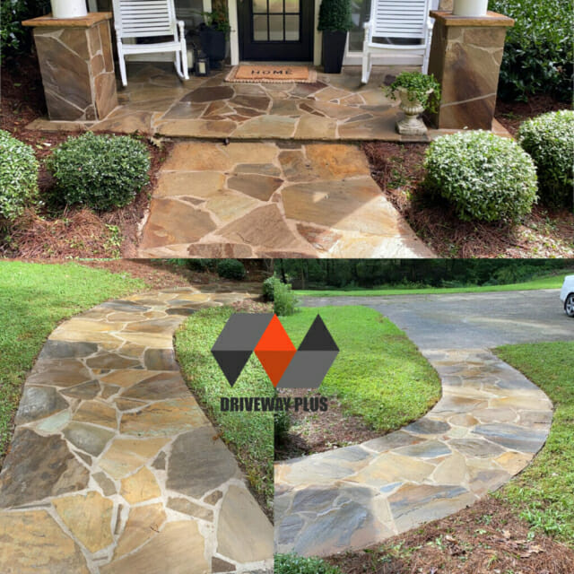 Front porch and walkway with stones home in Roswell GA