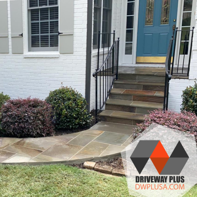 Walkway, steps and front porch in blue stones