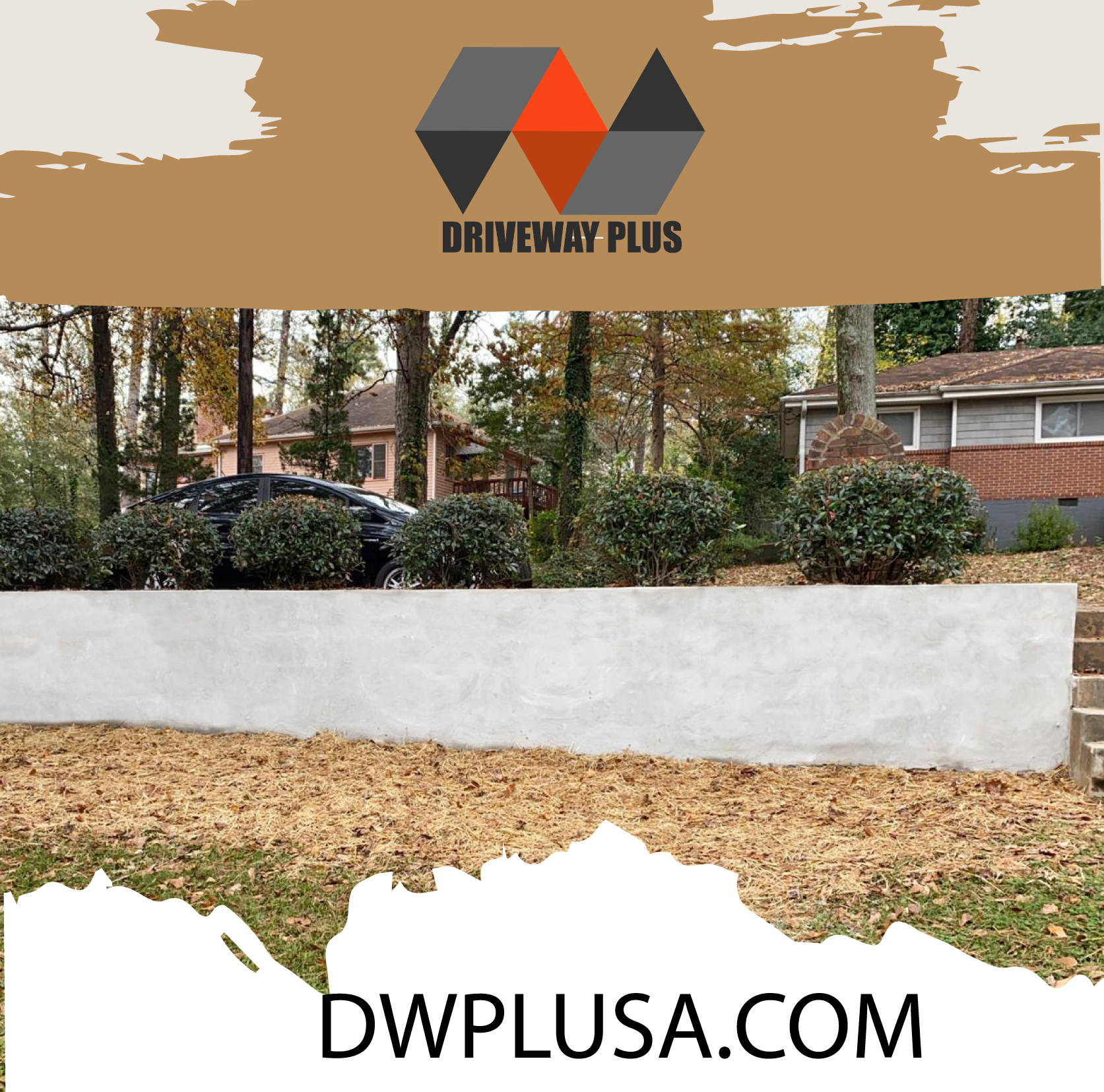 Cinder block retaining wall with stucco finishing